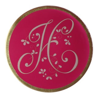 "Glass Monogram Initial Letter ""H"" Decorative Plate For Sale"