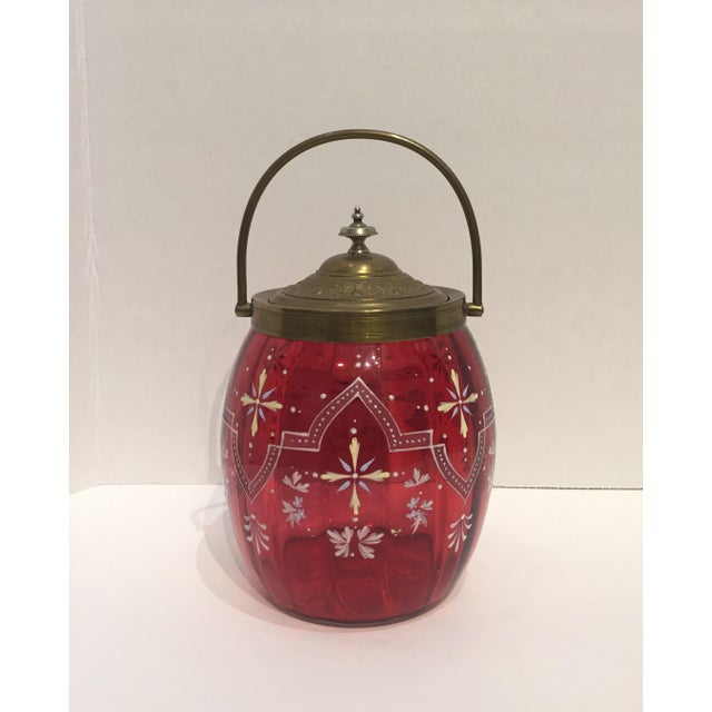 19th Century Biscuit Barrel Hand Enameled Cranberry Glass W/ Brass Lid & Handle For Sale - Image 4 of 11