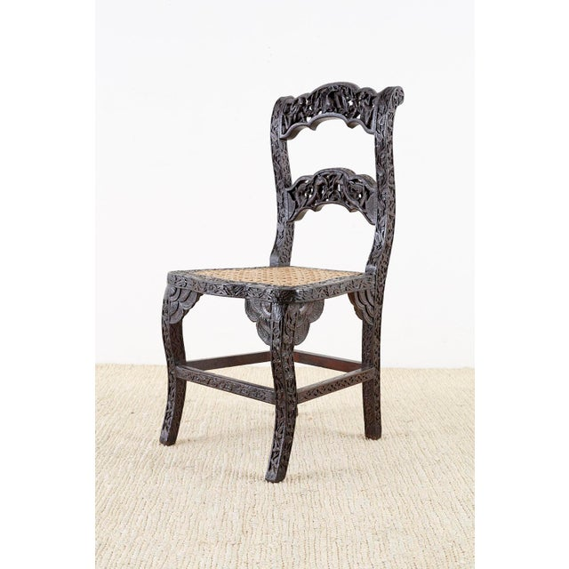 Anglo Indian Carved Rosewood Desk Chair For Sale - Image 13 of 13