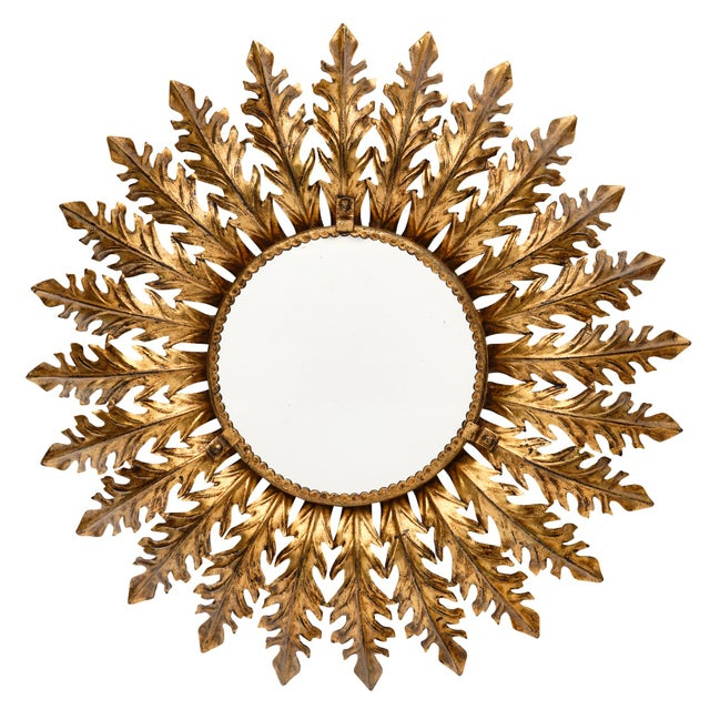Spanish Vintage Sunburst Mirror With Backlight For Sale - Image 10 of 10