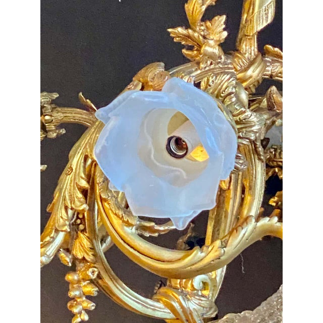 Glass Crystal Beaded Globe Dore and Patinated Bronze Cherub Form 15-Light - a Pair For Sale - Image 7 of 13