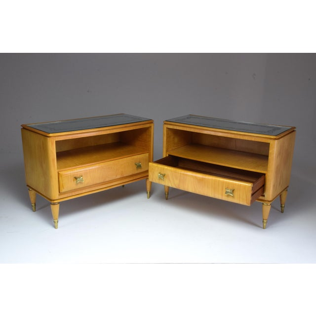 Mid 20th Century Italian Mid-Century Maple Wood Nightstands - a Pair For Sale - Image 13 of 13