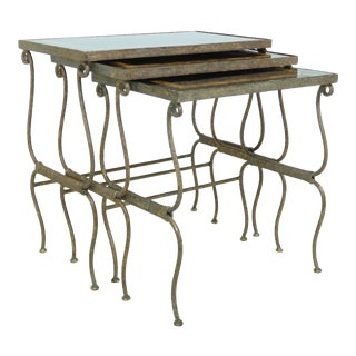Maitland Smith Stone Top Metal Base Set Nesting Stack Tables For Sale