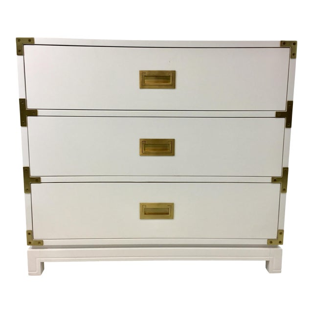 Ave Home Modern White Carlyle Campaign Chest of Drawers For Sale