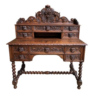 Antique French Carved Oak Desk For Sale