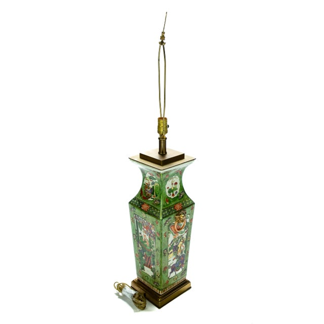 Green Vintage Chinese Rose Medallion Hand Painted Table Lamp For Sale - Image 8 of 13