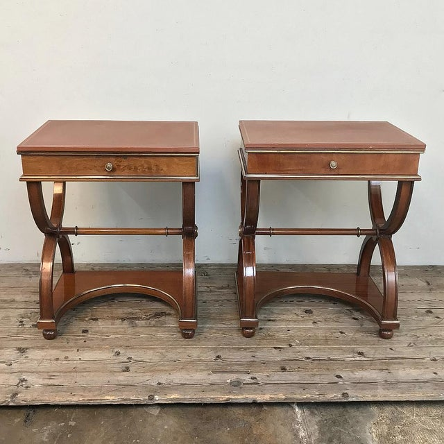 Traditional Pair Mid-Century French Charles X Side Tables For Sale - Image 3 of 13