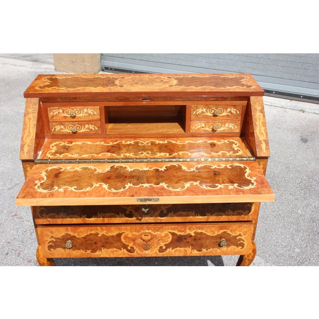 1950s Italian Louis XV Style Luxury Secretary Desk For Sale - Image 10 of 13