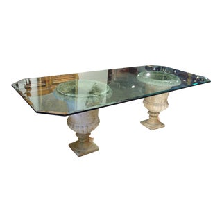 Beveled Glass Table Top on Antique French Stone Urns