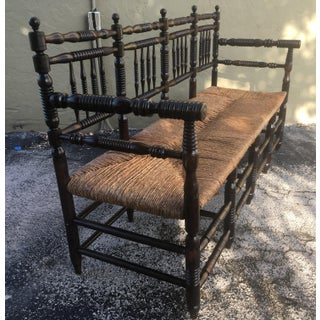 19th Century French Provencial Bench With Three Cane Seats, Back and Arms Preview