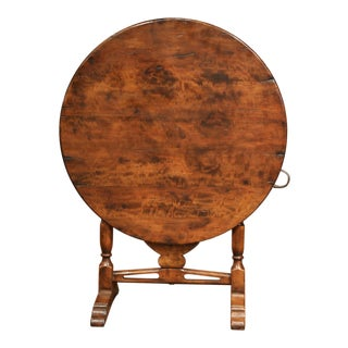 French Carved Walnut Round Wine Tasting Table From Burgundy With Lyre Decor For Sale