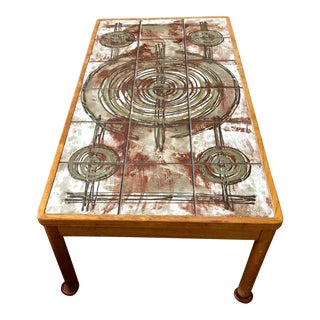 1970s Mid-Century Modern Ox Art Trioh Tile Top Rectangular Coffee Table For Sale