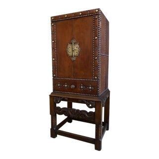 Antique English Carved Wood & Leather Cabinet