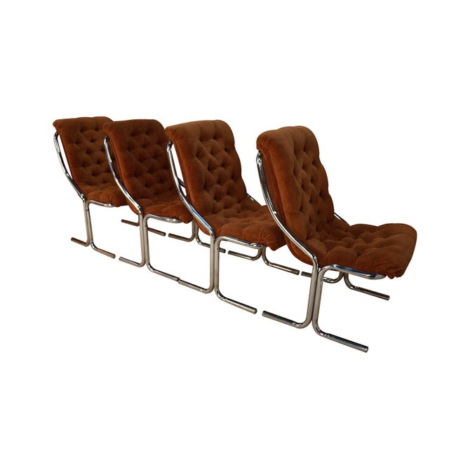 Mid 20th Century Daystrom Mid Century Chrome High Back Dining Velour Chairs For Sale - Image 5 of 11