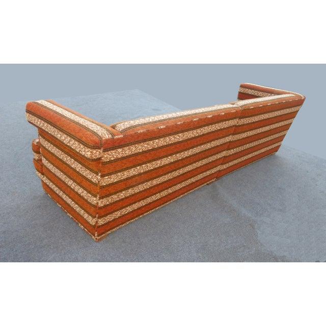 Mid-Century Modern Orange Stripped Sofa - Image 8 of 10