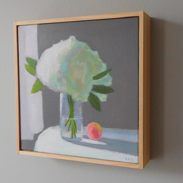 """Impressionism """"White Hydrangea With a Peach"""" Painting by Anne Carrozza Remick For Sale - Image 3 of 6"""