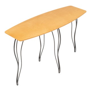 Vintage 1990s Modern Squiggly Leg Surfboard Console Table For Sale