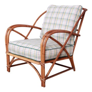Heywood Wakefield Hollywood Regency Mid-Century Modern Rattan Lounge Chair For Sale
