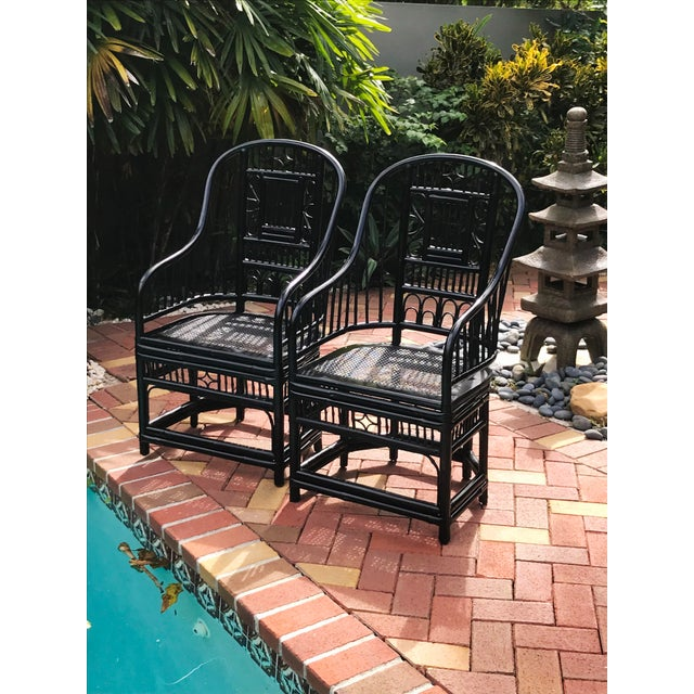 Black Vintage Brighton Pavilion Chinoiserie-Style Black Lacquered Bamboo and Rattan Chairs- a Pair For Sale - Image 8 of 13