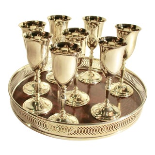 Sterling Silver Liquor Stem Cups With Serving Tray - Set of 9 For Sale
