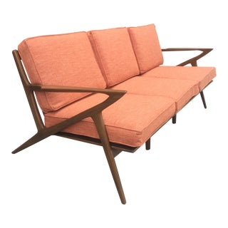 Mid-Century Terra-Cotta Z Sofa For Sale