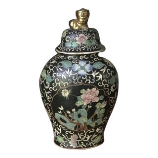 18th Century Antique Chinese Famille Rose Porcelain Flower Scenery & Golden Foo Dog Statue ,Flat Jar, Reduced. Final For Sale