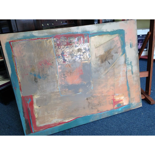 Abstract Painting with Bayeaux Tapestry Image - Image 2 of 4