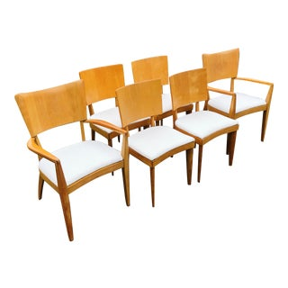 Vintage Mid Century Heywood Wakefield Sting Ray Dining Chairs - Set of 6 For Sale