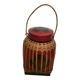 1960s Hand Painted Black and Red Thai Handled Rice Basket For Sale