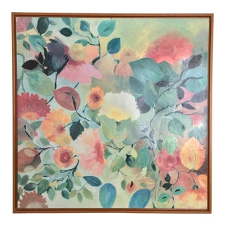 Vintage Original Abstract Botanicals Acrylic Painting