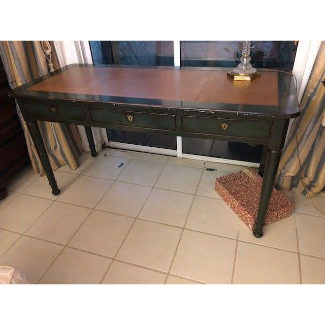 Antique Style Hand Painted Vintage Leather Top Writing Desk - Image 6 of 6 - Antique Style Hand Painted Vintage Leather Top Writing Desk Chairish