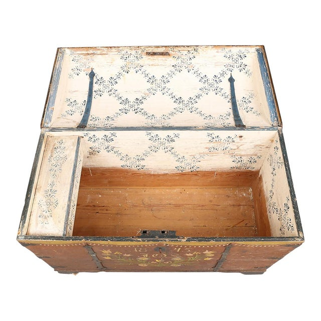 Folk Art Antique Swedish Painted Chest, 1845 For Sale - Image 3 of 10