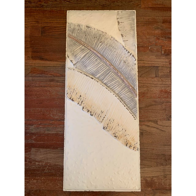 Paint Pressed Tin Triptych of Painted Banana Leaves by Kalalou - 3 Pieces For Sale - Image 7 of 13