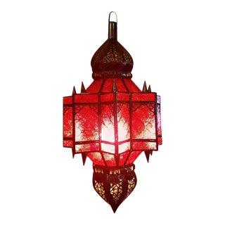 Makki Style Red Glass Moroccan Glass Lantern
