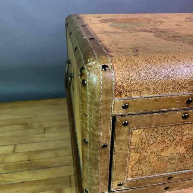 Leather Travel Suitcase Storage Box on Frame, 20th Century For Sale - Image 11 of 12