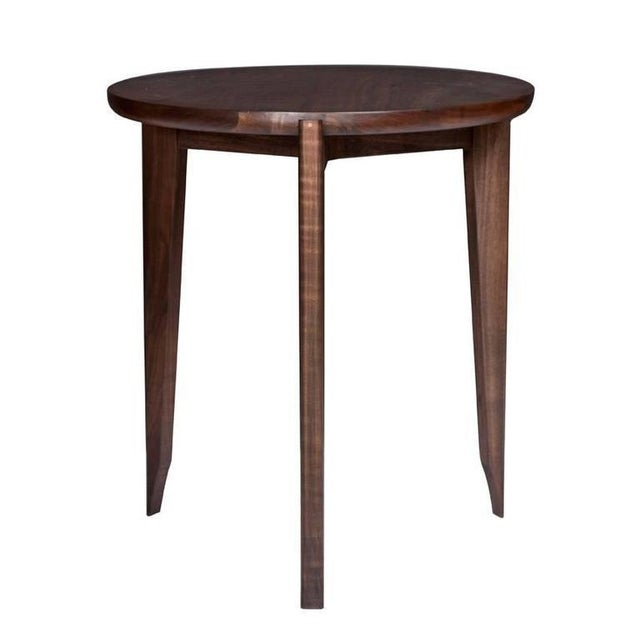 Modern Customizable Stillmade Walnut Tripod Side Table with Solid Walnut Top For Sale - Image 3 of 3