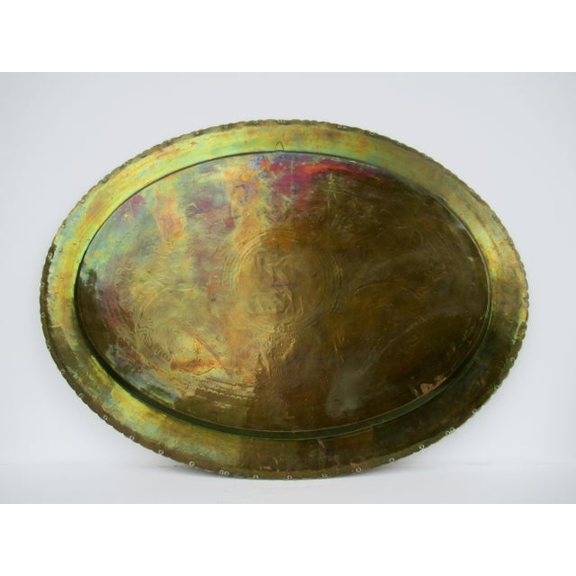 Vintage Mid-Century Large Chinese Oval-Shaped Brass Tray/Wall Hanging For Sale - Image 11 of 13