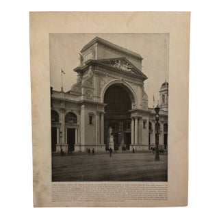 """Antique World's Columbian Exposition Print """"Where Franklin Greets the Visitor"""" For Sale"""