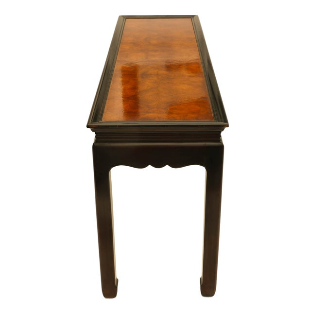 Brown Asian Oriental Burlwood Console Table For Sale - Image 8 of 10