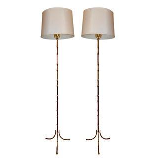 Vintage French Maison Bagues Floor Lamps - Pair For Sale