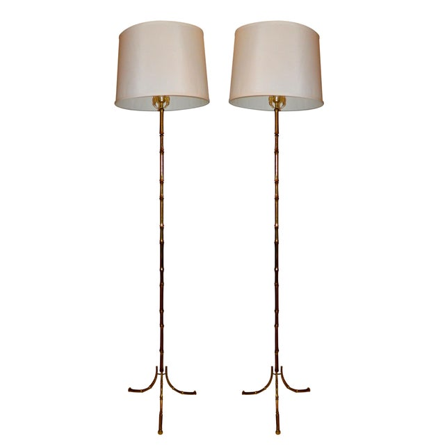 Vintage French Maison Bagues Floor Lamps - Pair - Image 1 of 5