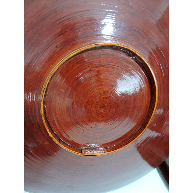 Vintage Burmese Red Lacquer & Bamboo Plates and Charger - Set of 7 For Sale In Tampa - Image 6 of 10