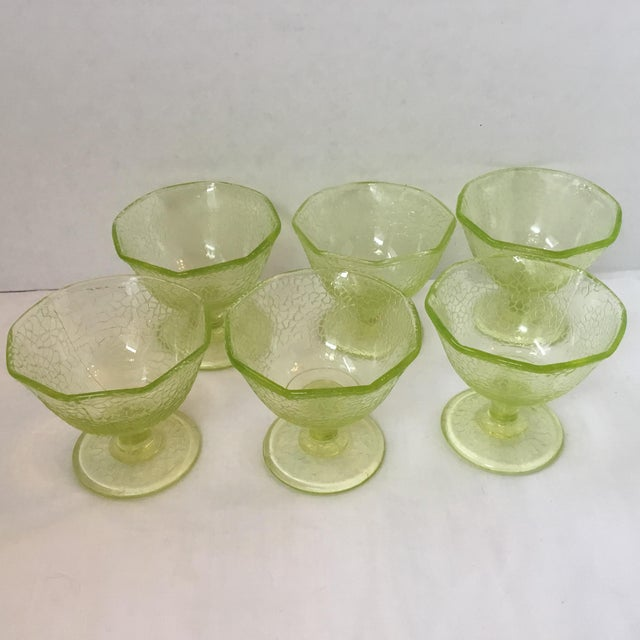 Abstract Cracked Uranium Lime Green Glass Dishes - Set of 6 For Sale - Image 3 of 11