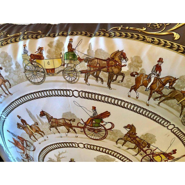 Brown Enormous Hermes 'La Promenade De Longchamps' Overstuffed Silk Pillow For Sale - Image 8 of 11