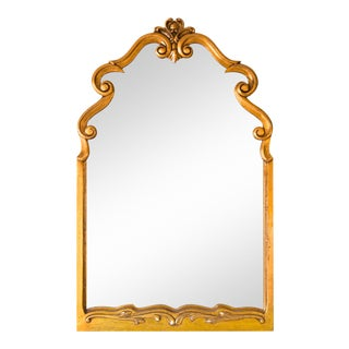 Large Scrolled Arch Gilded Mirror, 1950s For Sale