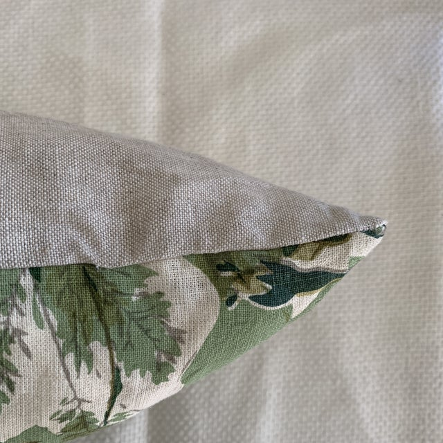 "John Rosselli Michael Smith Jasper ""Grace"" Verdant Green Botanical Linen Pillow For Sale - Image 4 of 6"