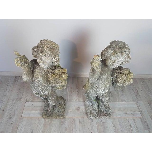 Concrete 20th Century Italian Neoclassical Garden Statues Set, Garden Ornament For Sale - Image 7 of 10