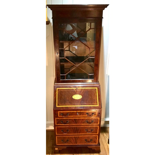 20th Century English Inlaid Desk Secretary With Bookcase For Sale - Image 13 of 13