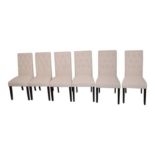 Beige Linen Tufted Dining Chairs - Set of 6 For Sale