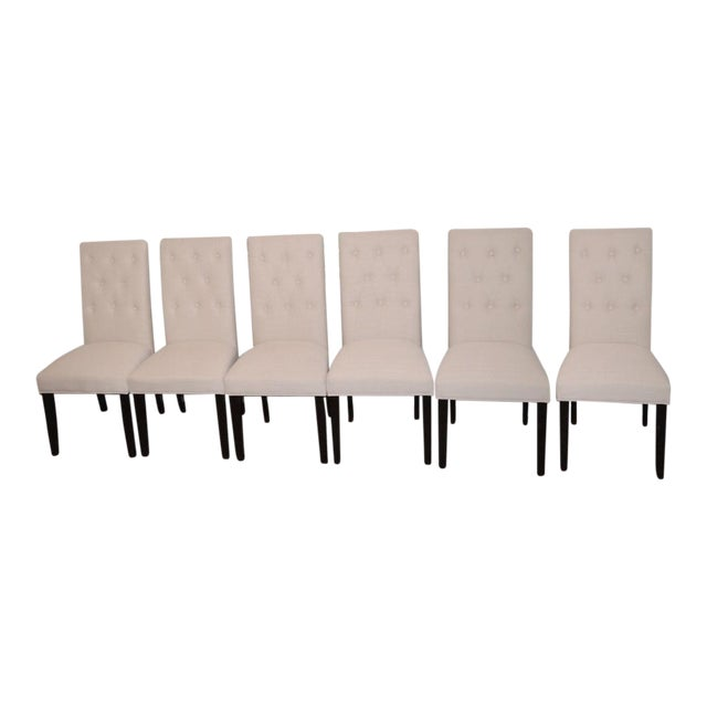 Beige Linen Tufted Dining Chairs - Set of 6 - Image 1 of 3